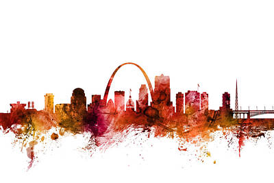 Digital Art - St Louis Missouri Skyline by Michael Tompsett