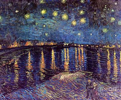 Arles Painting - Starry Night Over The Rhone by Vincent Van Gogh