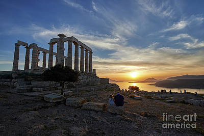 Sunset Photograph - Temple Of Poseidon During Sunset by George Atsametakis