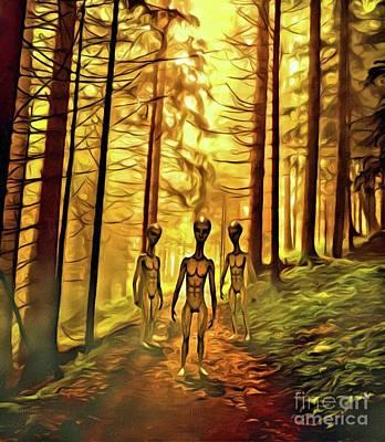 Monster Ufo Wall Art - Digital Art - The Aliens Are Here by Raphael Terra