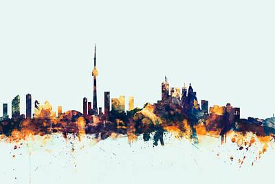 Toronto Digital Art - Toronto Canada Skyline by Michael Tompsett