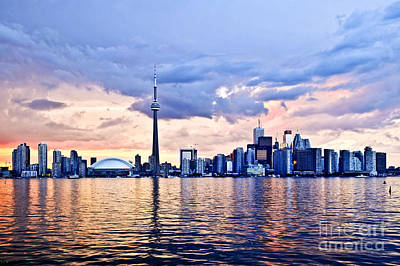 Landscapes Royalty-Free and Rights-Managed Images - Toronto skyline reflecting in Lake Ontario by Elena Elisseeva