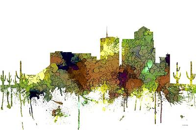 Digital Art - Tucson Arizona Skyline by Marlene Watson