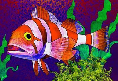 Seaweed Photograph - Underwater. Fish. by Elena Kosvincheva