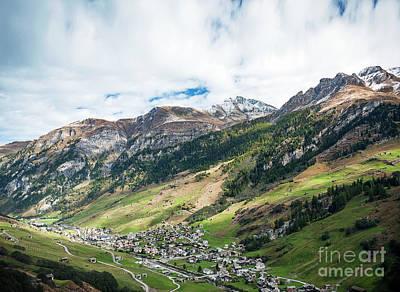 Photograph - Vals Village Alpine Valley Landscape In Central Alps Switzerland by Jacek Malipan