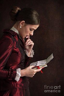 Photograph - Victorian Woman Reading A Letter by Lee Avison