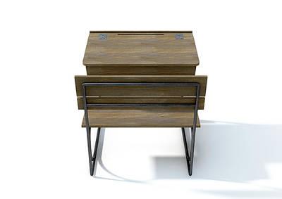 Vintage Wooden School Desk Art Print
