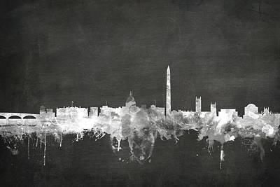 Chalk Boards Digital Art - Washington Dc Skyline by Michael Tompsett