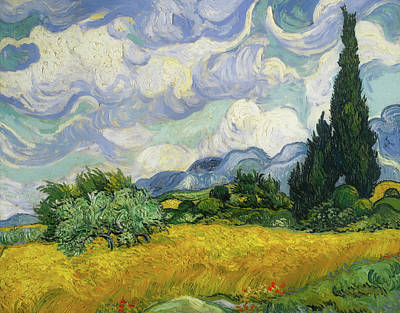 Art Print featuring the painting Wheat Field With Cypresses by Vincent van Gogh