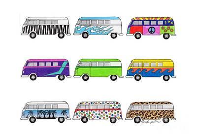 Micro Drawing - 9 Wild Buses by Rita Palmer
