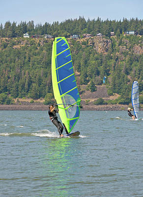 Wind Surfing In Hood River Oregon. Original by Gino Rigucci