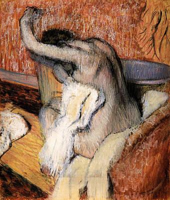 Degas Painting - Woman Drying Herself by Edgar Degas