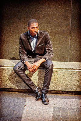 Photograph - Young African American Man Thinking Outside In New York by Alexander Image