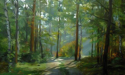 Tree Painting - Nature Painted Landscape by Edna Wallen