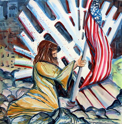 Terrorism Painting - 911 Cries For Jesus by Mindy Newman