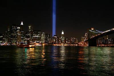 911 Memorial Lighting Art Print by Dennis Curry