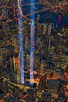 Aerial Photograph - 911 Nyc Tribute In Light by Susan Candelario