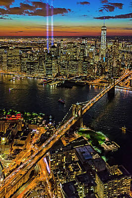 Bridge Photograph - 911 Tribute In Lights At Nyc by Susan Candelario