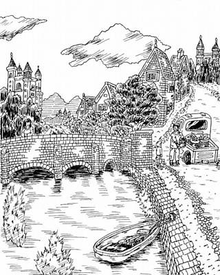 Drawing - Landscape Of European Country by Hisashi Saruta
