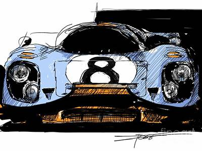 Woman Cave Painting - 917 Illustration Head On by Peter Fogg