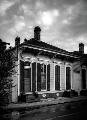 Shotgun Houses Wall Art - Photograph - 919 Bourbon Street In Black And White by Chrystal Mimbs
