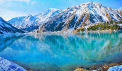 Blue Painting - Landscape Paintings Nature by Margaret J Rocha