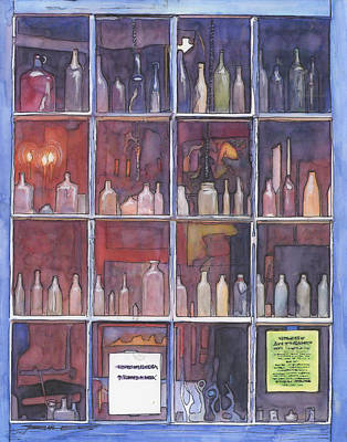 95   French Quarter Window With Bottles Art Print by John Boles