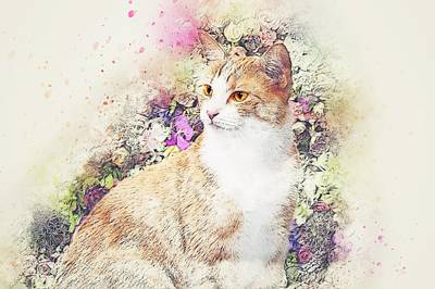 Pattern Digital Art - Cat by Super Lovely