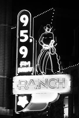 Photograph - 95.9 Neon Cowboy Bw by Rospotte Photography