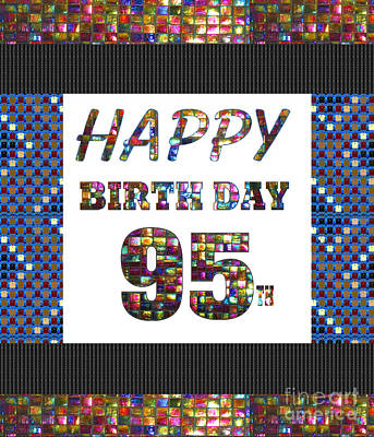 Painting - 95th Happy Birthday Greeting Cards Pillows Curtains Phone Cases Tote By Navinjoshi Fineartamerica by Navin Joshi