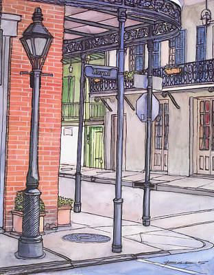 96  French Quarter Corner Of Royal Art Print by John Boles