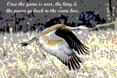 Crane Mixed Media - Motivational Quotes by Charles Shoup