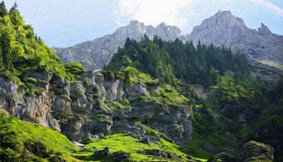 Mountains Painting - Nature Landscape Wall Art by Margaret J Rocha