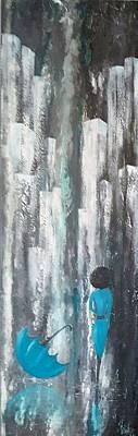 Painting - #966 Lady In Blue by Linda Skibinsky