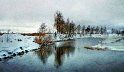 Winter Painting - Landscape Art Nature by Margaret J Rocha