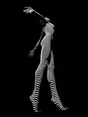 Photograph - 9825-dja Black And White Zebra Striped Woman Unique Perspective Fine Art Photograph By Chris Maher by Chris Maher