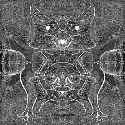 Digital Art - 991 Feline  Creature by Irmgard Schoendorf Welch