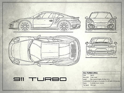 Porsche blueprint art pixels porsche blueprint wall art photograph 991 turbo blueprint by mark rogan malvernweather Gallery
