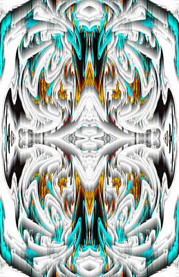 Digital Art - 992.042212mirror2ornategoldablue-1 by Kris Haas