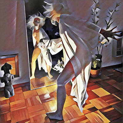 Digital Art - 9926s-dm Watercolor Woman In White Confronts Herself In Mirror by Chris Maher