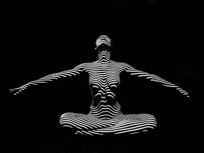 Photograph - 9928-dja Zebra Striped Woman Lotus Arms Out Abstract Black And White By Chris Maher by Chris Maher