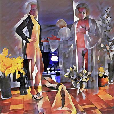 Digital Art - 9985-dm Surreal Watercolor Of Nude by Chris Maher