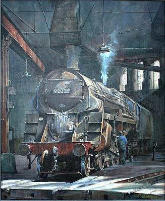 Painting - 9f On Saltley Shed 1958. by Mike Jeffries