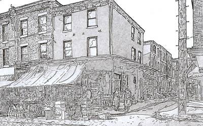 Philadelphia Italian Market Drawing - 9th And League St.,phila.,pa  1954 by Michael Cifone