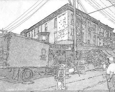 Philadelphia Street Drawing - 9th And Washington Ave.,phila.,pa   1954 by Michael Cifone