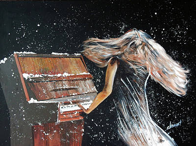 Lady Playing Piano Painting - A-028 Lady Playing Piano Under Snowing by Clement Tsang