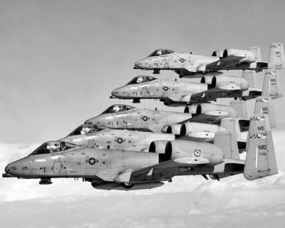 A-10 Warthogs Flying In Formation Art Print by War Is Hell Store