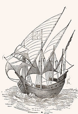 Lateen Drawing - A 15th Century Caravel. From El Museo by Vintage Design Pics