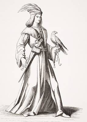 Provence Drawing - A 15th Century Noble Of Provence. After by Vintage Design Pics