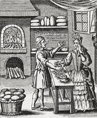 Everyday Life Drawing - A 16th Century Baker S Shop. From by Vintage Design Pics